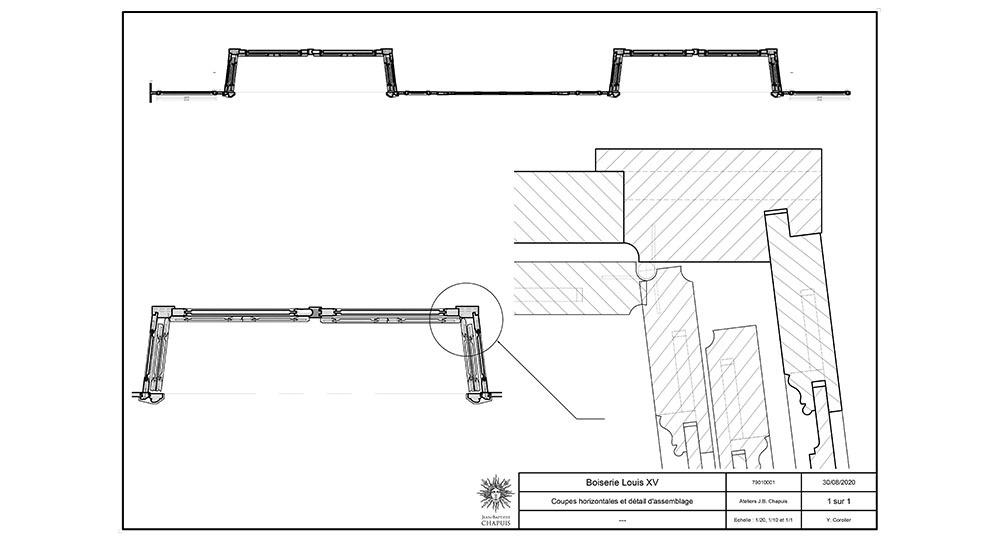 plans détaillés de boiserie volets Louis XV