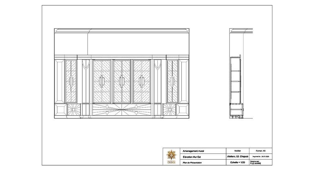 plans de bibliothèque Ruhlman ivoire ébène de macassar