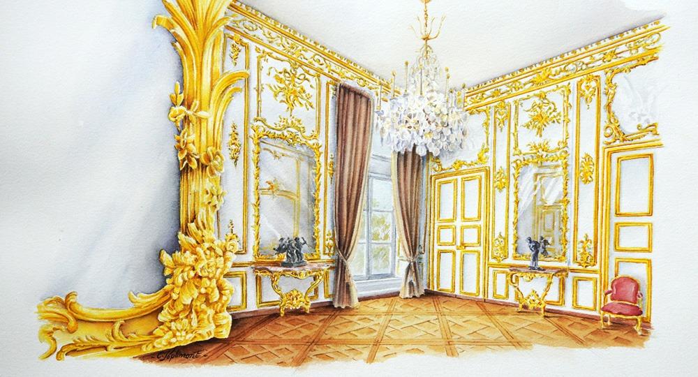 salon boierie sculptée louis XV doré