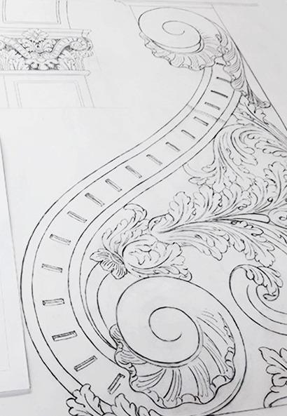 dessin de préparation de sculpture louis XV