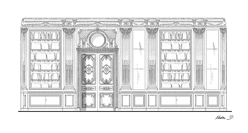 bilbiothèque Louis XVI sculptuée