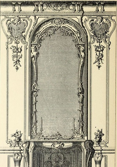 grisaille trumeau de glace Louis XV